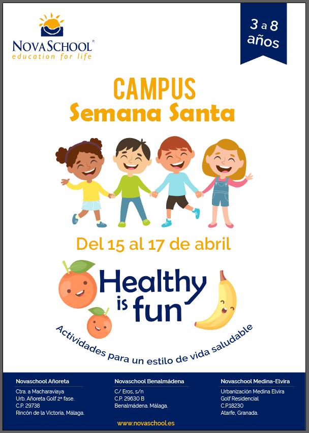 Cartel del campus de Semana Santa Novaschool Benalmádena